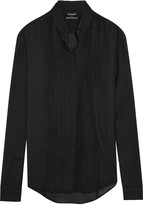 Anthony Vaccarello Pintucked wool-blend shirt