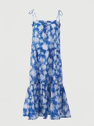 Very Cotton Tie Shoulder Midi Beach Dress - Blue Print