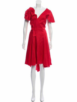 DELPOZO Sleeveless Midi Dress w/ Tags Red