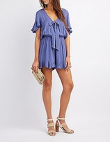 Charlotte Russe Tie-Front Flounced Romper