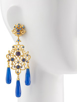 Jose & Maria Barrera Jade-Drop Chandelier Clip Earrings, Blue