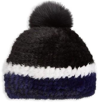 The Fur Salon Julia & Stella For Knitted Mink Fur & Fox Fur Pom-Pom Hat