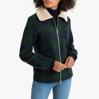 La Redoute Collections Checked Aviator Jacket with Faux Sheepskin Collar