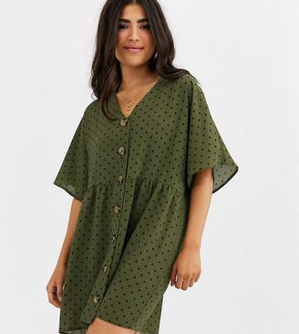 Asos DESIGN Petite v neck button through mini smock dress in spot-Multi