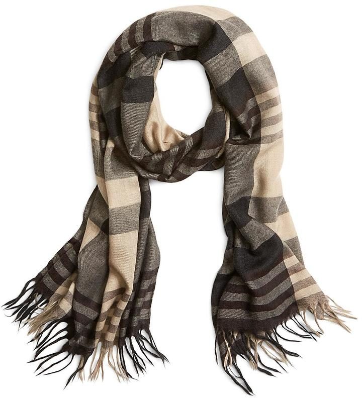 Brooks Brothers Cashmere and Silk Block Stripe Scarf