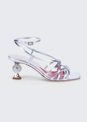 Roger Vivier 65mm Metallic Sandals with Crystal Heel