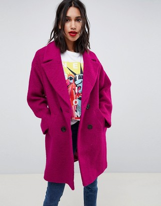 Asos Design DESIGN double breasted coat in texture-Pink