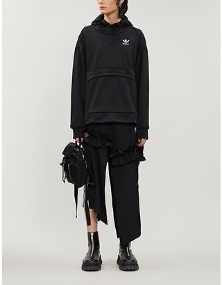 Selfridges Asymmetric ruffle-trim cotton-jersey hoody