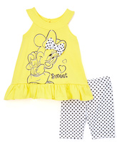 Children's Apparel Network Yellow & Black Minnie Mouse Top & Shorts - Girls