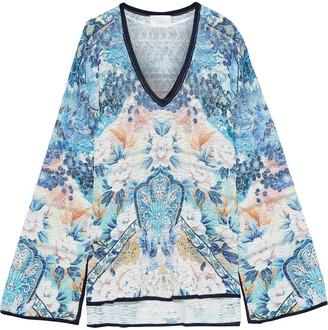 Camilla Tokyo Tribe Metallic Floral-print Crochet-knit Sweater