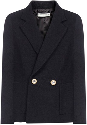 Alessandra Rich Crystal Button Double-Breasted Blazer