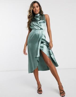 ASOS DESIGN drape front satin maxi dress with wrap skirt in sage