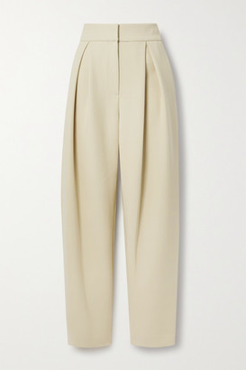 LE 17 SEPTEMBRE Pleated Woven Tapered Pants - Beige