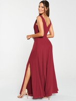 Very Pleated Bust Maxi Dress- Burgundy