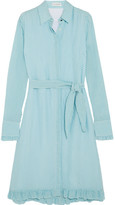 Altuzarra Laguna Ruffle-trimmed Gingham Crinkled-crepe Dress - Sky blue