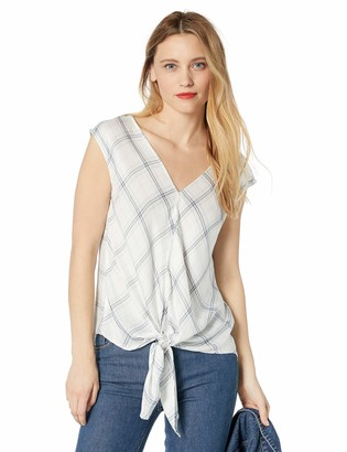 Max Studio Women's Rayon Stripe tie Front Sleevless top