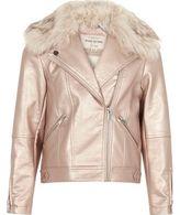 River Island Girls metallic pink faux fur biker jacket