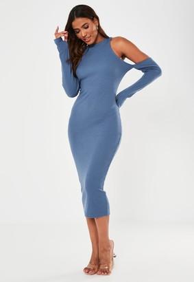 Missguided Blue Rib Cold Shoulder Midaxi Dress