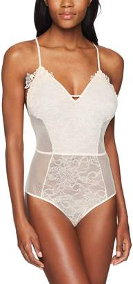 Mae Amazon Brand Women's T-Back Lace and Mesh Bodysuit