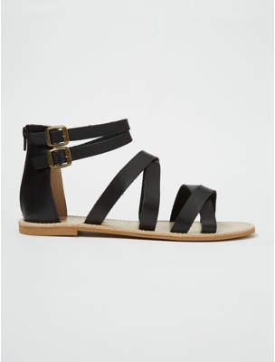 George Black Zip Back Gladiator Sandals