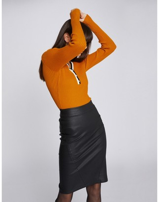 Morgan Faux Leather Pencil Skirt in Knee-Length