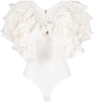 Rotate by Birger Christensen Ruffle-Embellished Bodysuit