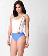 Kling White & Blue Suspender Red Bow One Piece Swimsuit