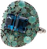 Stephen Dweck Sterling Silver Blue Topaz & Chrysoprase Statement Ring - Size 6