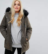 New Look Plus New Look Curve Faux Fur Hood Longline Parka