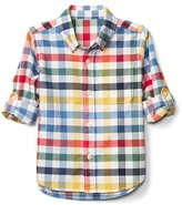 Gap Plaid oxford convertible shirt