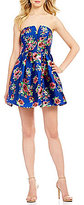 B. Darlin Notched Neckline Floral Party Dress