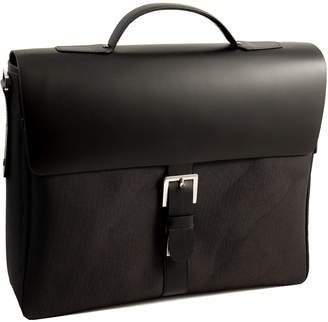 Bey-Berk Black Leather & Ballistic Nylon Briefcase