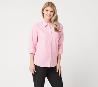 Denim & Co. Stretch Oxford Point Collar Button-Front Shirt