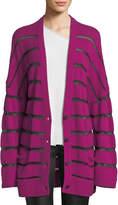 RtA Odella Striped Oversized Cashmere Cardigan