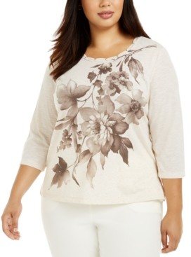 Alfred Dunner Plus Size First Frost Floral-Print Top