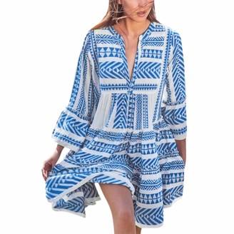 Squarex Women Dress squarex Fashion Women Printed V Neck Long Sleeve Beach Party Dresses Bohemian Dresses for Party Daily Plus Size Dress Blue
