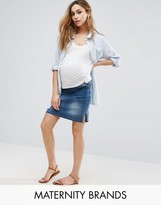 Mama Licious Mama.licious Mamalicious Over The Bump Denim Skirt