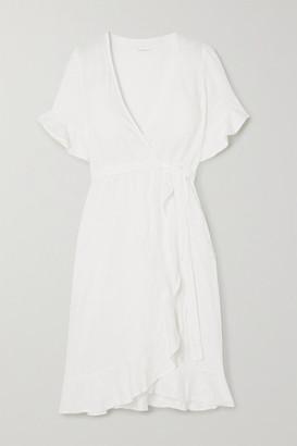 HONORINE Charlotte Ruffled Linen Wrap Dress - White