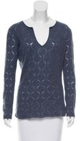 Allude V-neck Eyelet-Accented Sweater