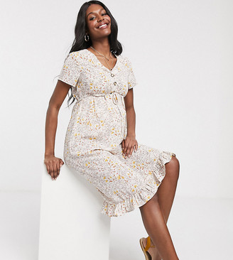 Mama Licious Mamalicious Maternity midi dress with button detail in floral