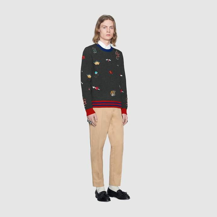 Gucci Wool sweater with embroideries