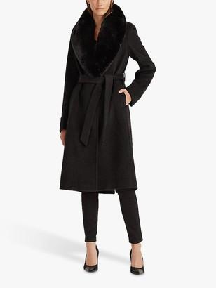 Ralph Lauren Ralph Wrap Faux Fur Trim Coat