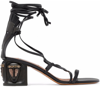 Valentino Lace-up Embellished Leather Sandals
