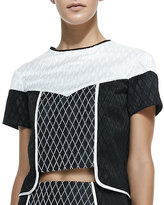 Jonathan Simkhai Diamond Colorblocked Crop Top