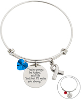 Blue & Stainless Steel 'Happy' Bangle With Swarovski® Crystals