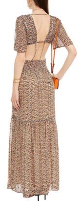 BA&SH Divine Open-back Printed Metallic Georgette Maxi Dress