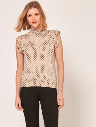M&Co High neck spot print top