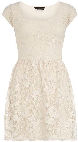 Dorothy Perkins Cream short sleeve lace dress