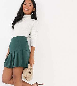 ASOS DESIGN Petite pleated mini skirt in forest green
