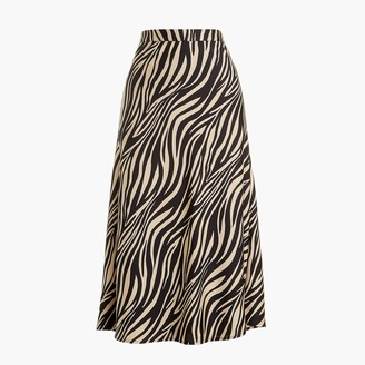 J.Crew Petite animal-print satin-back crepe A-line midi skirt
